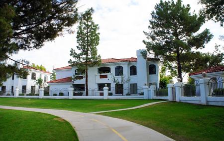 Vacation homes along the Scottsdale Greenbelt in Scottsdale, Arizona 新聞圖片