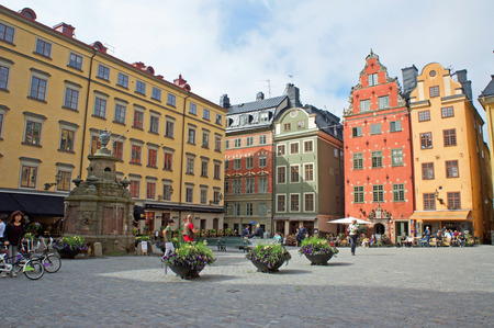 The buildings of Gamla Stan, the colorful Old Town in Stockholm, Sweden