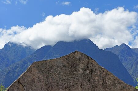 The sacred rock (roca sagrada) was formed to resemble the Andes mountain peaks in the background.