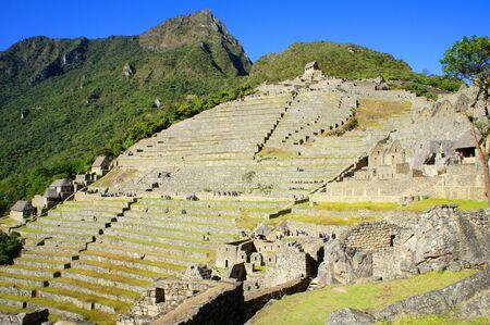 Terraces used for farming by Incans at Machu Picchu 版權商用圖片