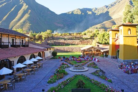 The  beautiful gardens and grounds at a hotel located in the Sacred Valley in Peru