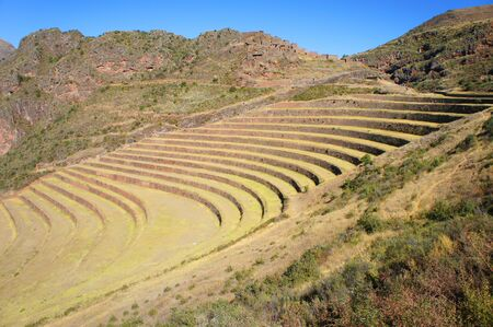 Terraces used by the Incan Empire for farming in the 15th century 版權商用圖片