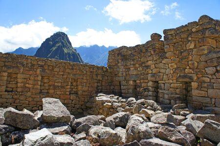 Closeup of the ruins of a building at Machu Picchu, Peru