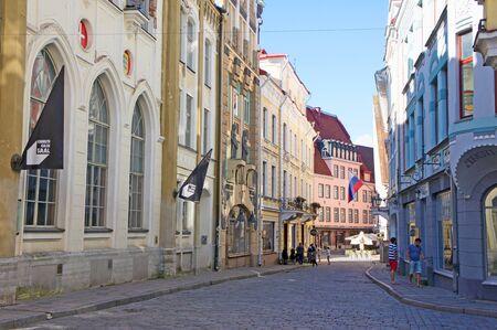 Cobblestone street in the Estonias quaint capital city Talinn Editöryel