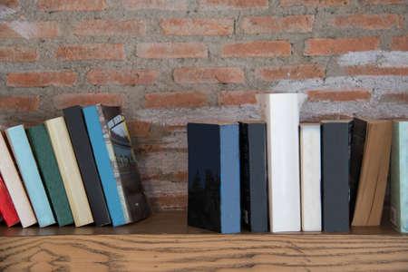 shelf: Book shelf on the wall. Stock Photo