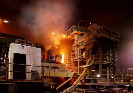 Atmosphere of steel-making furnace in smelting steel plant.
