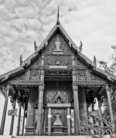 The teak buddhist Church in Thailand Stock Photo