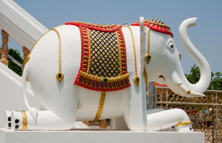 White elephant in buddhist temple