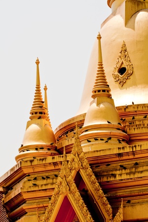 golden pagoda in  buddhist temple