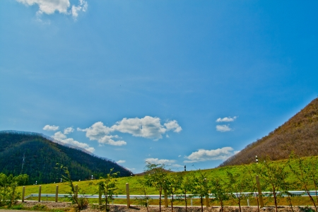 Blue bright sky view with Mountain,Thailand Stock Photo