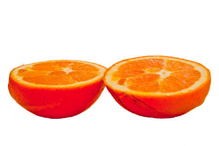 yellow   cleave  orange on white background Stock Photo - 13907128