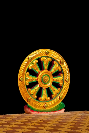 wheel of dhamma of the Buddha Stock Photo