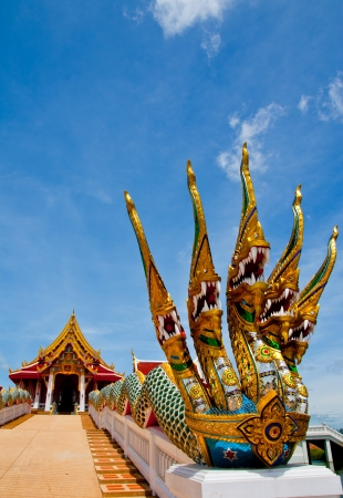 buddhist structures: Heads of Naga  or serpents in buddhist temple , Thailand