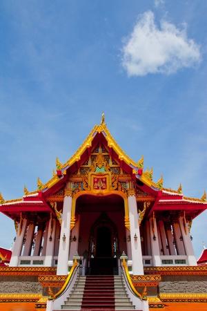 the buddhist church with blue sky ,thailand photo