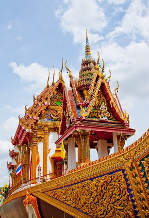 the buddhist church on boat in thailand photo