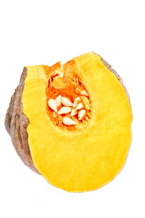 piece of raw pumpkin on white blackground photo