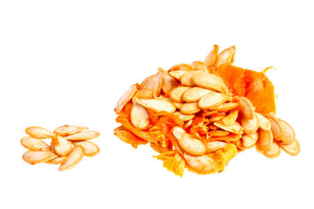 Raw pumpkin seeds on white blackground Stock Photo - 15750113