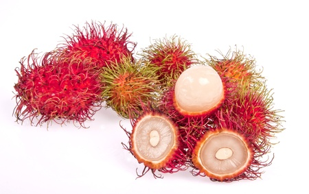 Isolated , rambutans on white background photo