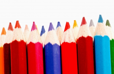 sharp of colorful crayon  on white Stock Photo - 16365115