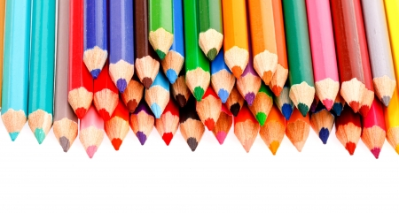 sharp of colorful crayon  on white