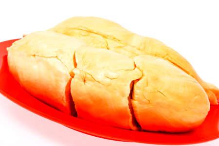 freshness Durian fleshs in red  dish on white Stock Photo - 17291636