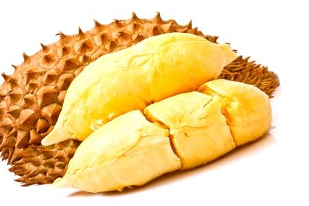 flesh: freshness of Durian flesh on white background