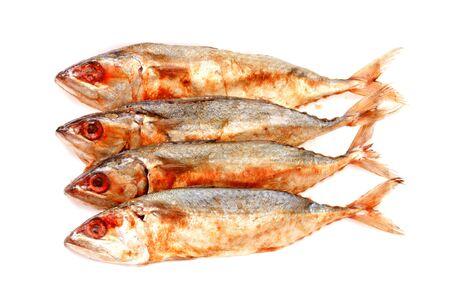 salted mackerel fishs on white background