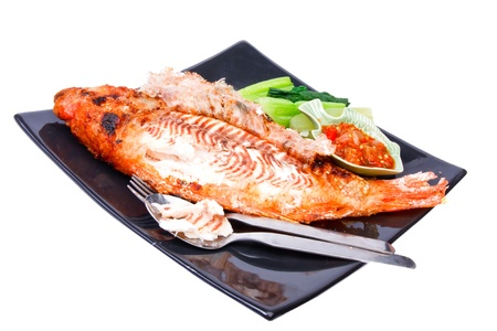 Grilled fish wite sauce on white Stock Photo - 17344143