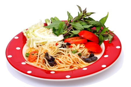 long bean: green papaya salad  tropical food of Thailand