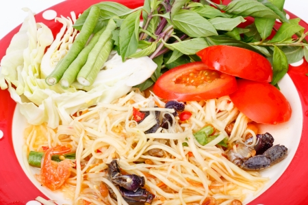 green papaya salad  tropical food of Thailand Stock Photo - 17344236