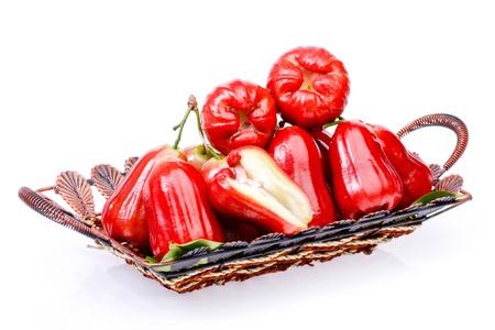 Rose apple fruit  in basket on white background