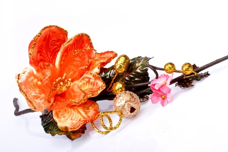 beautiful hand-made flower on whit