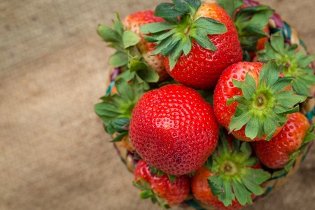 strawberrys: Strawberrys in basket  on hemp sheet