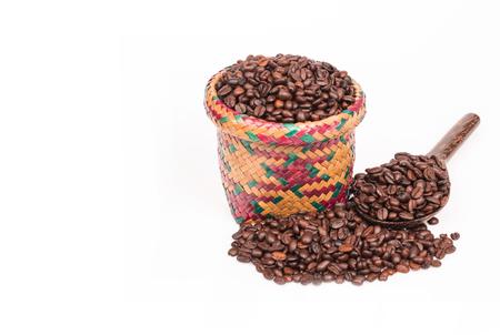 coffee bean in sack  on white background Stock Photo