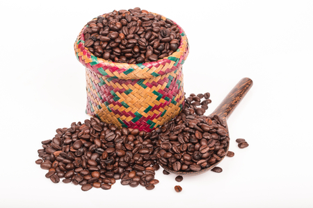 coffee bean in cup  on white background