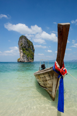 boat on beautiful beach in Thailand 免版税图像