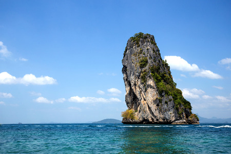 beautiful mountain or island in sea with bright blue  sky