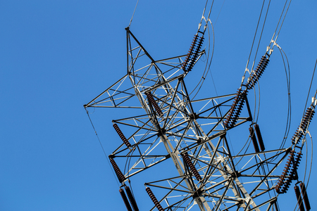 high voltage electric  tower on a clear  sky