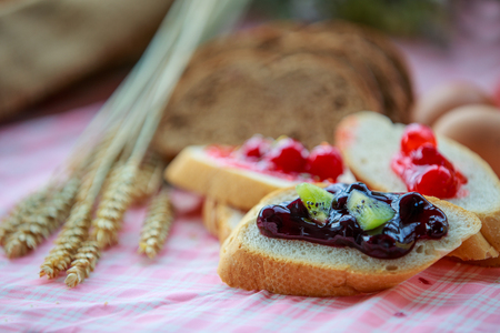 Bread and jam  are beautiful and delicious