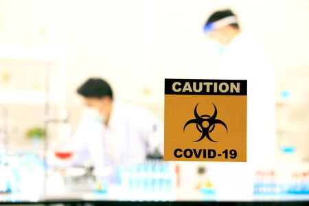 Virus testing laboratory  with scientific experiment equipment 免版税图像 - 149562885