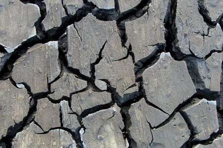 The dry and cracked soil surface