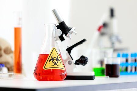Virus testing laboratory  with scientific experiment equipment 免版税图像 - 147917461