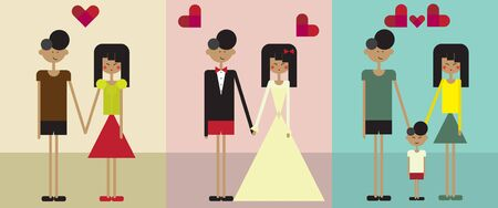 Illustration showing a couple from falling in love, getting married and having a child Иллюстрация
