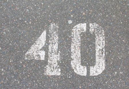 40: Number 40 sprayed paint on a street Stock Photo