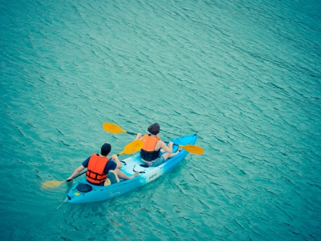 Kayaking in the sea photo