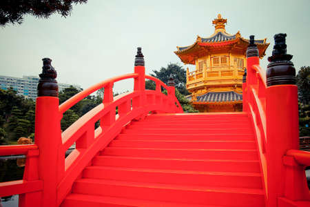 Red bridge in Chinese gardent photo