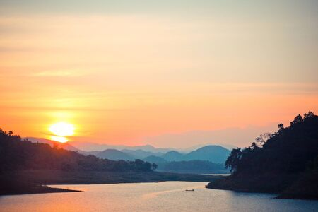 california delta: Sun set in river Stock Photo