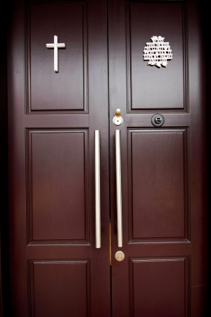 Brown wood door photo