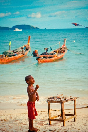 boy play a kite nearby a sea