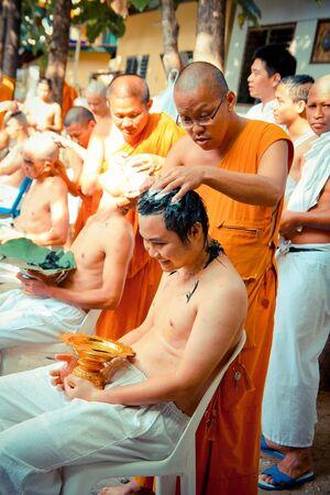 ordain: Tonsure become a monk Thai man